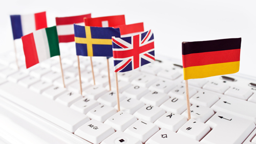 Computertastatur mit internationalen Länderflaggen